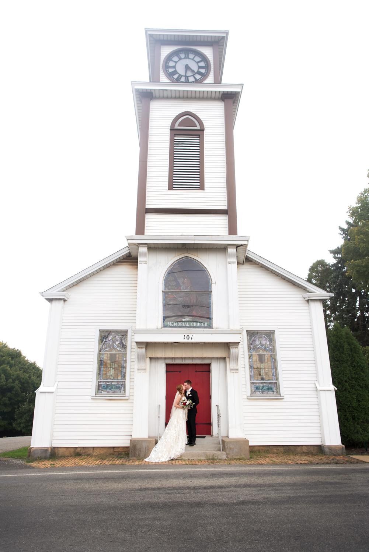 Bride and Groom outside Saxonburg memorial church, Saxonburg PA
